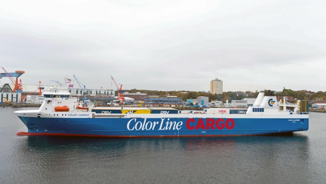 INTERMODAL: Color Carrier begynte å gå i rute mellom Oslo og Kiel i januar. I oktober lanserte Color Line et korresponderende togtilbud fra Verona i Italia.