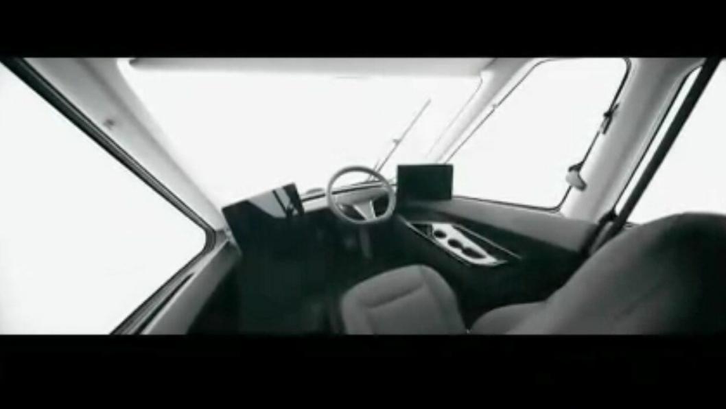 Førermiljøet i en Tesla Semi. Sentrert førerplass.Foto: Skjermbilde av Tesla-video