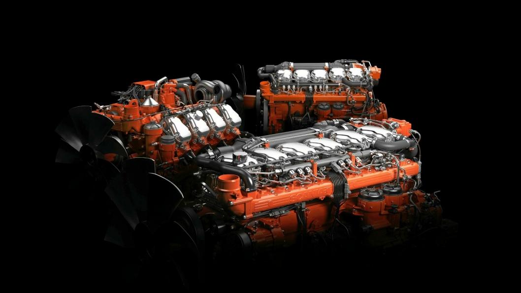 SVENSK TEKNOLOGI: Fra fem til åtte sylindre med volum på 9, 13 og 16 liter, effekt fra 275 hk til 770 hk, og alle fortsatt med separate topplokk.