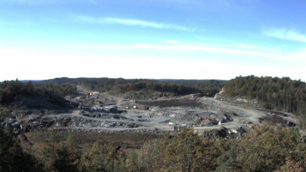 Bilde fra nettkamera på prosjektet E18 Tvedestrand-Arendal.