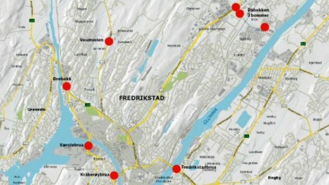 Kart over den nye bomringen i Fredrikstad som blir satt i drift i 2018.