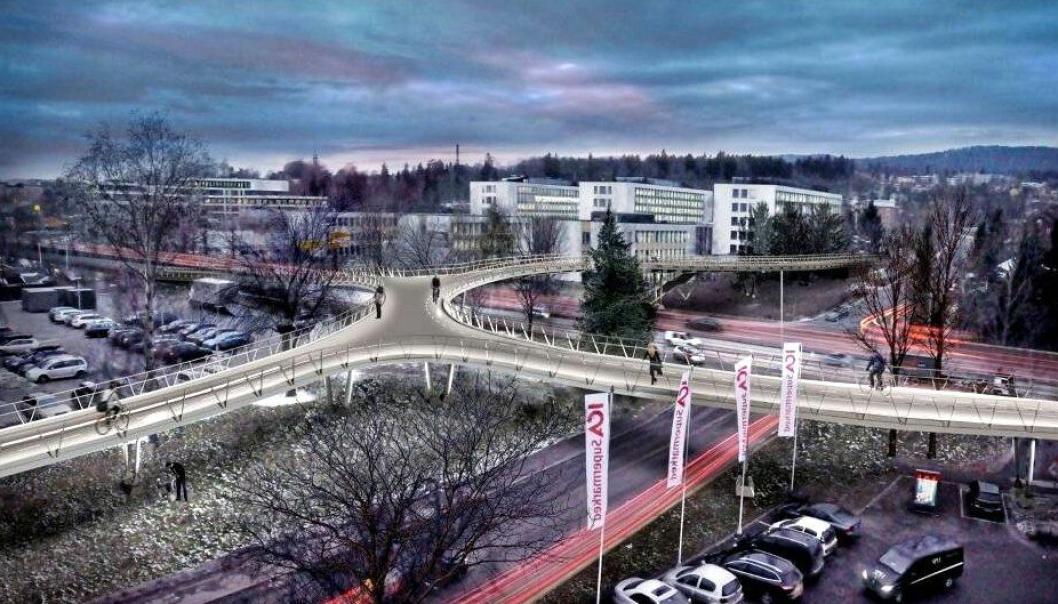 Slik skal gående og syklende loses over Ring 3 og sideveier ved Norges nasjonalarena for fotball når HAG Anlegg AS har fullført brujobben.