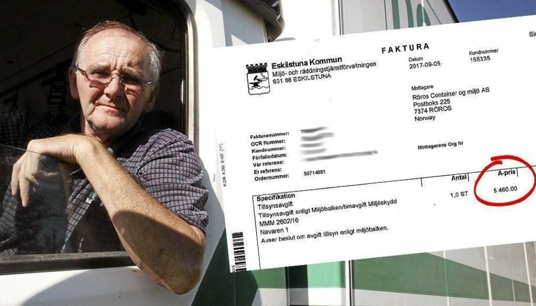 Gebyret på 5460 kroner ble sendt til Røros Container & Miljø, selv om det var tyvene som forårsaket dieselsølet.