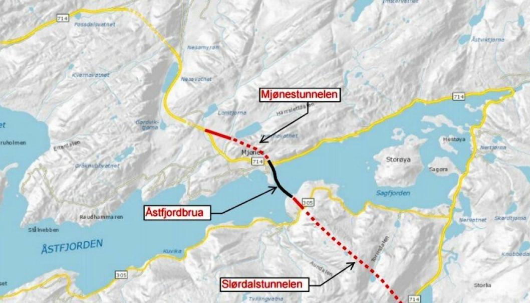 Kartet viser den største kontrakten; bygging av Slørdalstunnelen (ca. 2650 meter), Åstfjordbrua (ca. 735 meter) og Mjønestunnelen (ca. 770 meter), samt veger i dagsoner på ca. 1500 meter.