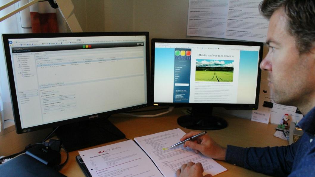 Tor-Egil Kleiv i Duotech AS vil hjelpe anleggsbedrifter med risikoanalyse.