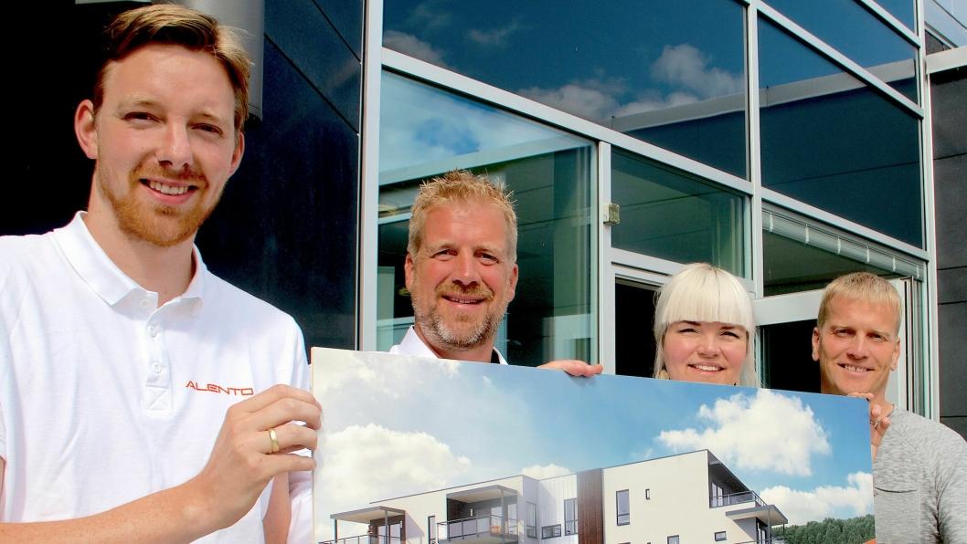 Denne kvartetten er klare for 4. byggetrinn av boligsuksessen Stadionkvartalet i Mjøndalen: Prosjekteringsleder; Ole-Kristian Sollie Eggen(t.v.) og daglig leder Kristian Lindland i Alento, prosjektsjef i Vestaksen Eiendom, Anette Gjestemoen og Vestaksens prosjektleder Arnar Jacobsson, innleid fra HR Prosjekt.