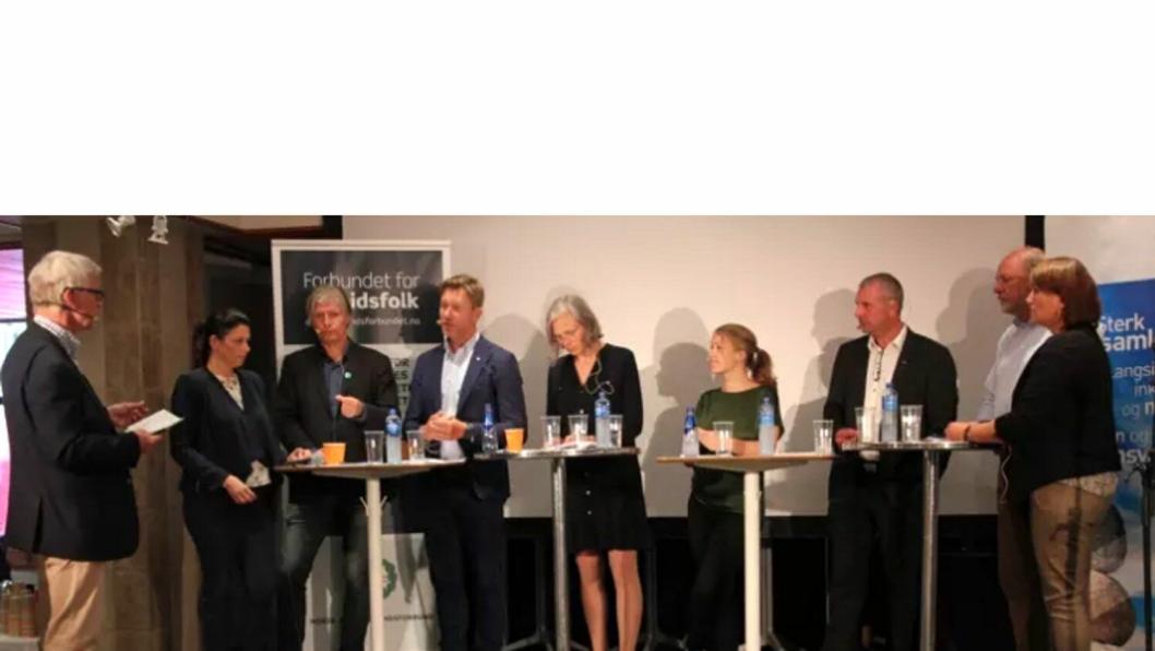 Fra venstre: Ordstyrer Stein Aabø, Heidi Nodby Lunde (H), Ola Elvestuen (V), Terje Åsland (Ap), Elisabeth Gammelsæter (Norsk Bergindustri), Une Aina Bastholm (MdG), Roger Heimland (LO), Svein Oppegård (NHO) og Anita Johansen (NAF).