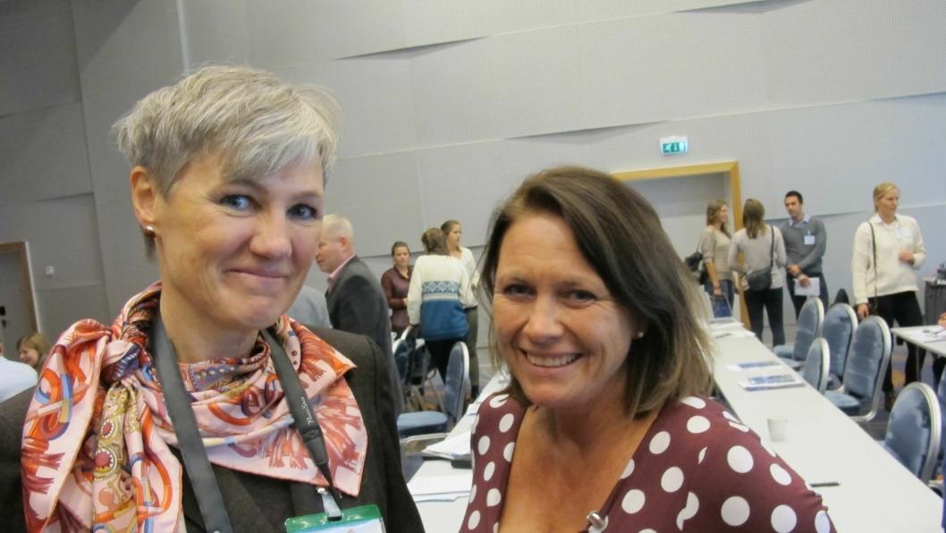 I 2013 var også høstmøtet lagt til Trondheim: Generalsekretær Elisabeth Gammelsæter (t.v.) og Hanne Markussen Eek, Franzefoss Minerals, daværende leder i Bergindustrien.