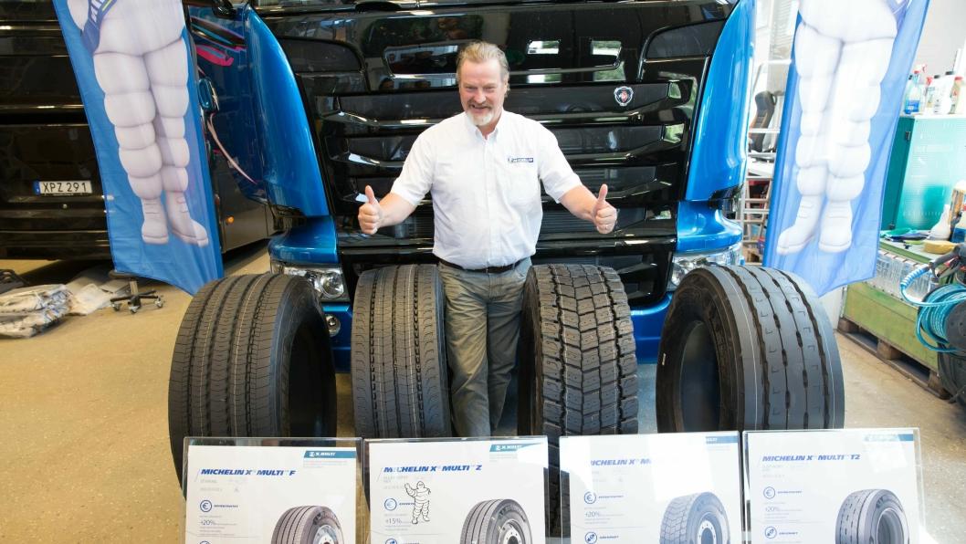 Salgssjef for lastebildekk hos Michelin i Norge, Bjørn Larsen, venter seg mye av de nye dekkene.
