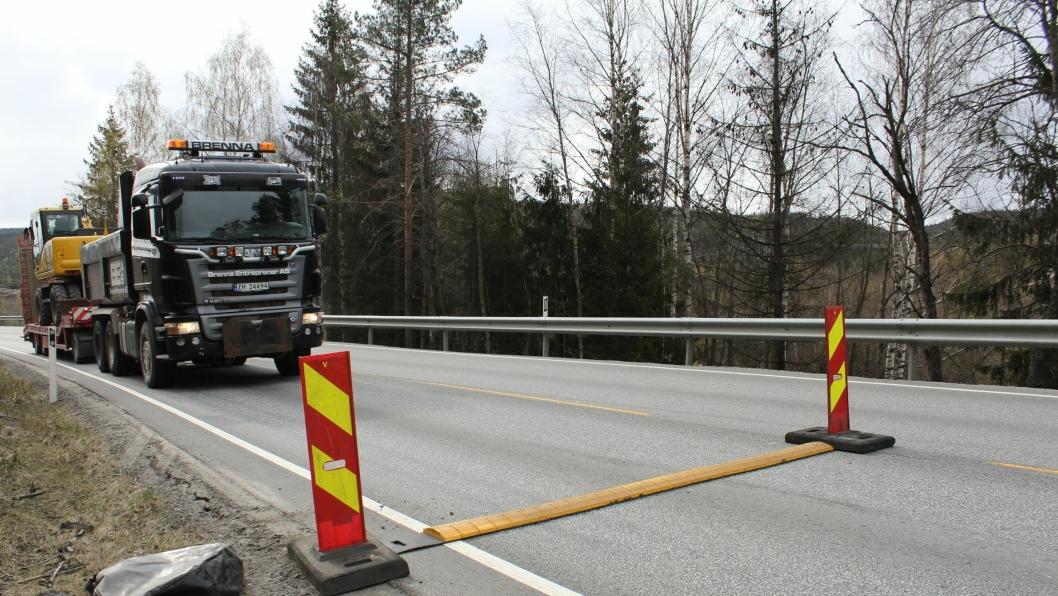 Mobile fartshumper som fartsreduserende tiltak ved veiarbeid.