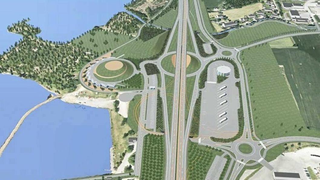 Skisse av det kommende veiserviceanlegget ved Brumunddal med bensinstasjon, serveringssted, dusj/WC, ladestasjon for elbiler og 20 tungbil-parkeringsplasser for døgnhvile i tilknutning til E6.