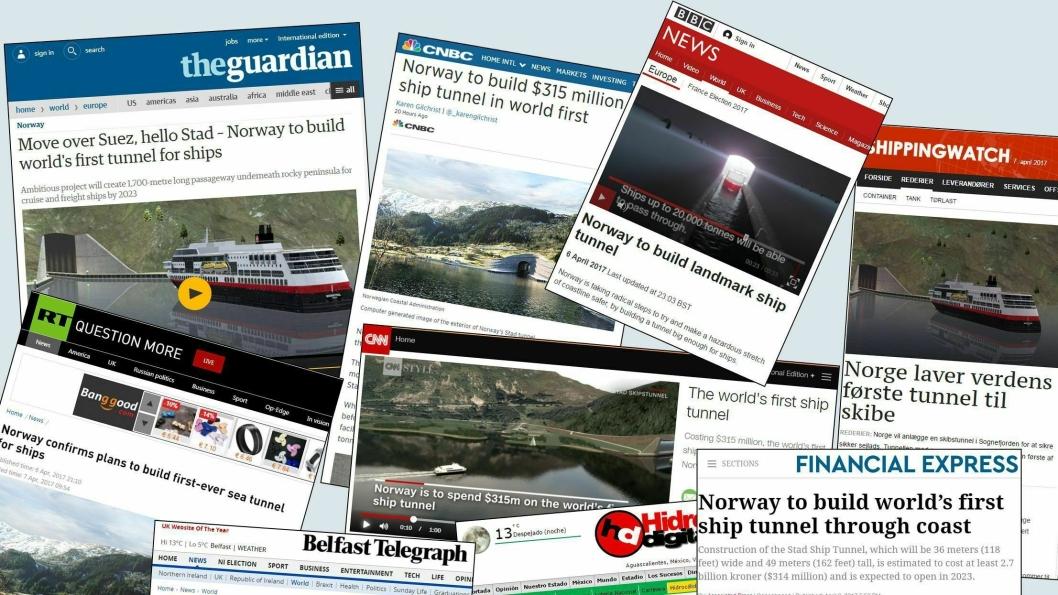 Det er stor internasjonal oppmerksomhet rundt verdens første (fullskala) skipstunnel. Illustrasjon av faksimiler: Kystverket