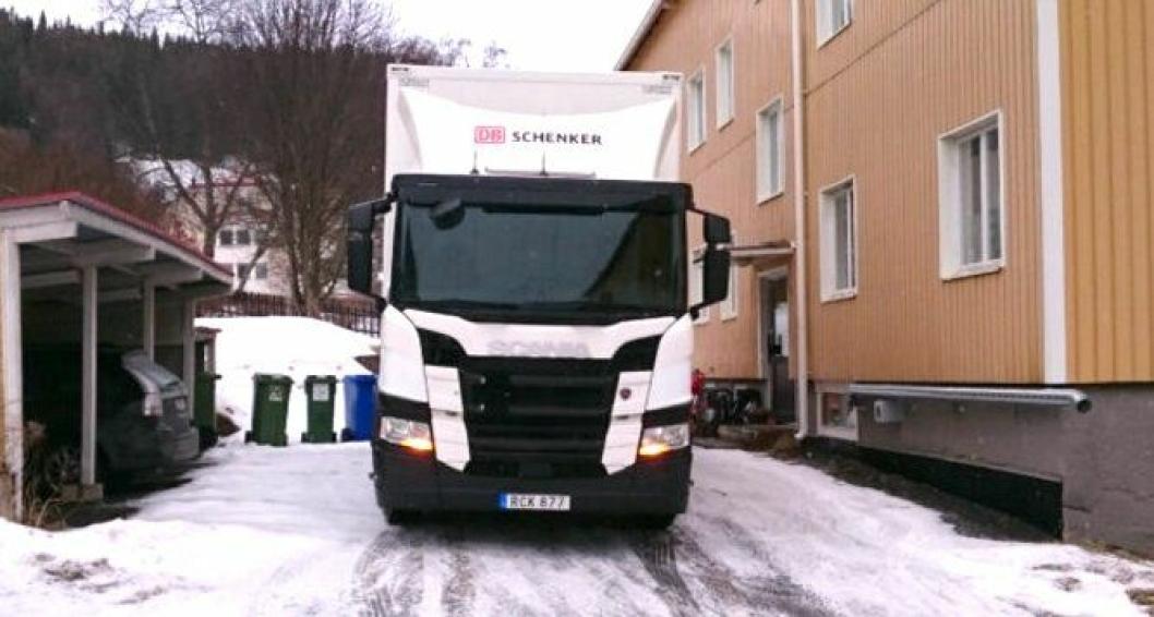 Scania G280 4x2 under testkjøring i Sverige i mars 2017.