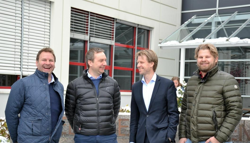Fra venstre: Svein Erik Bjerkrheim (organisasjonsdirektør Steen & Lund), Fridtjof Myhrene (prosjektleder og medeier i Steen & Lund), Jørgen Evensen, (konserndirektør BetonmastHæhre) og Pål Lund (adm. direktør Steen & Lund).