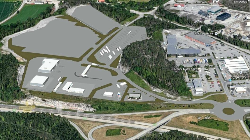 Svinesund Transportsenter tar form. (Ill. Fredriksten Utvikling AS)