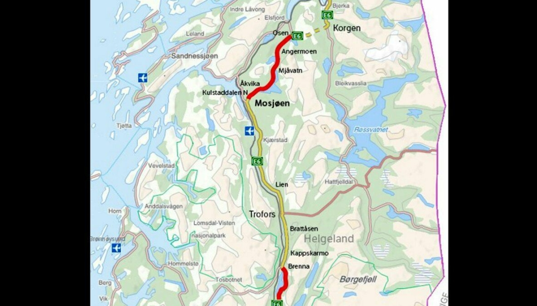 E6 Helgeland sør. Parsellene er merket med rødt.