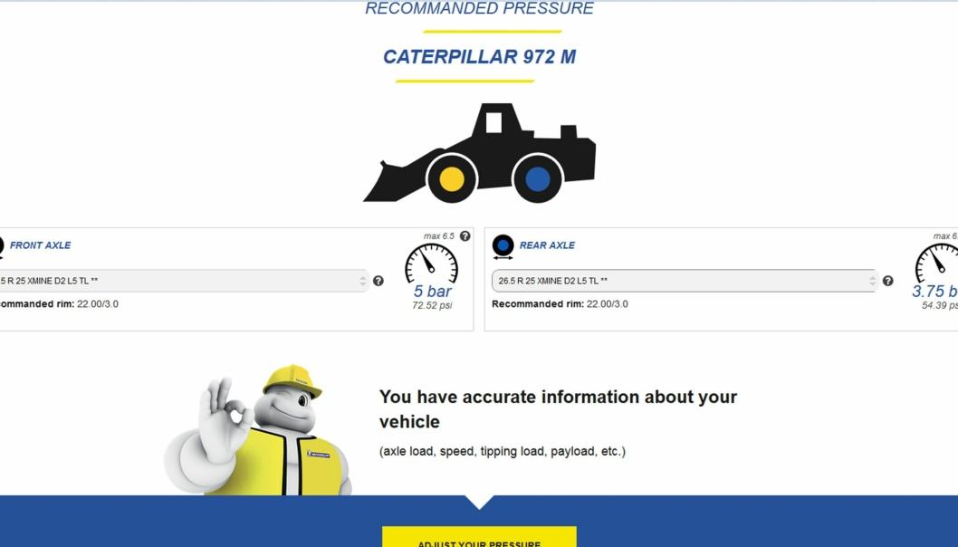 Skjermbilde av lufttrykkrådgiverens nettside hos Michelin.