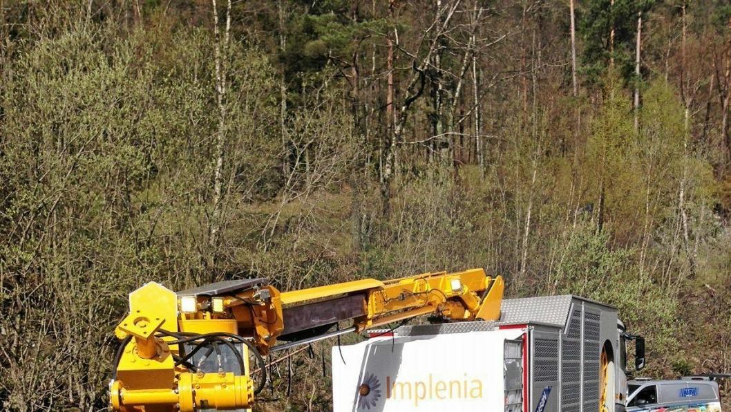 Implenia har mye utstyr på prosjektene sine, her for eksempel en AMV-sprøyterigg fra anlegget i Bergen.
