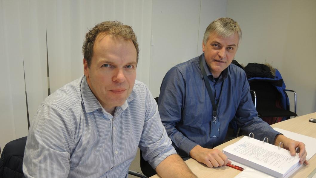 Prosjektleder Jan Helge Egeland, Statens vegvesen og prosjektsjef Gudmund Dyrland, Skanska.