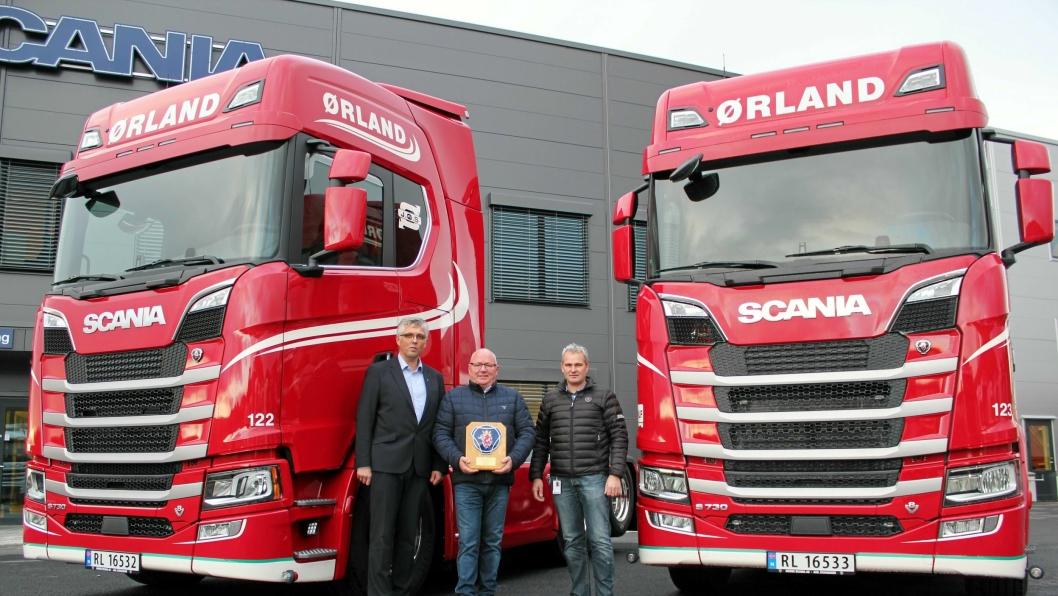 Nye S 730 skal være Scanias største satsing noensinne. Fra venstre: Arild Netland, Kjell Haugland, Tor Helge Undheim.