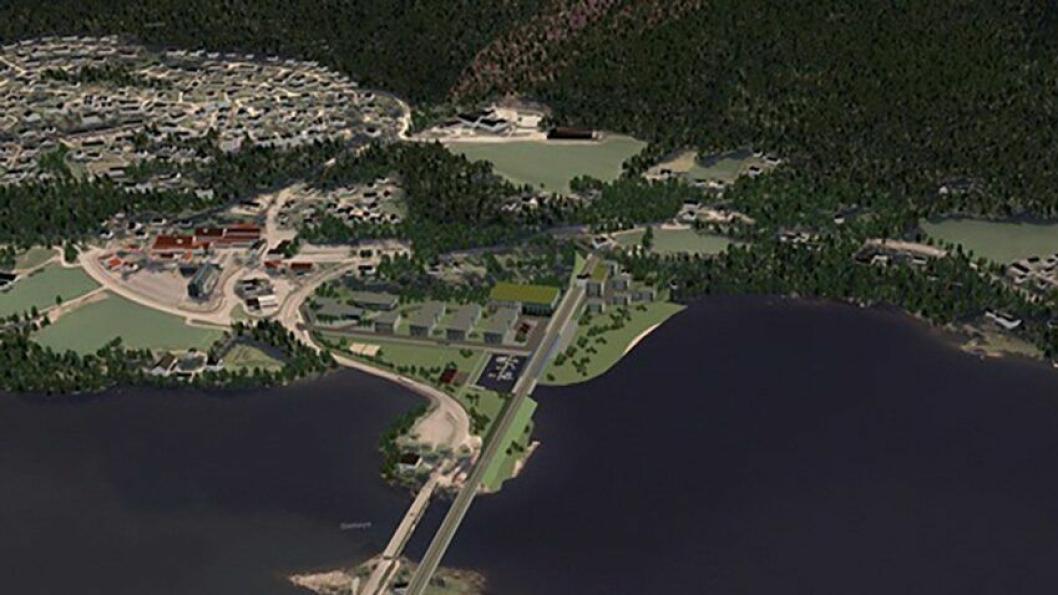 UT HER: Den nye jernbanetunnelen fra Sandvika vi komme ut i dagen her på Sundvollen etter 23 kilometer inne i fjellet.