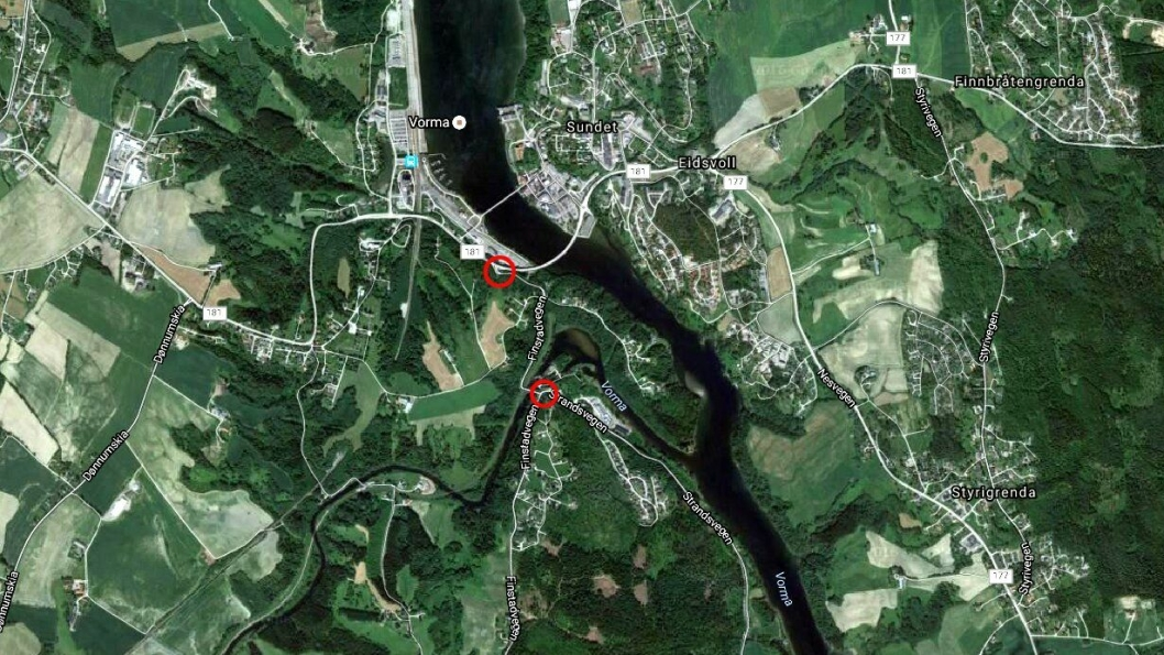 Det skal bygges 750 meter fortau langs fylkesvei 502 Finstadvegen mellom krysset Eidsvollvegen/ Finstadvegen (meket med rødt) og krysset Finstadvegen / Strandsvegen (merket med rødt).