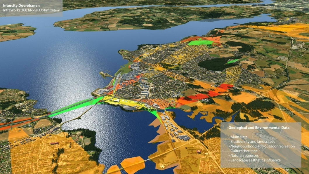 Ved hjelp av fargekoder ser man blant annet forskjellige landskapsområder, sårbar natur og bebyggelse i Hamar ved hjelp av et dataprogram (3D-modellering, Building Information Modeling).