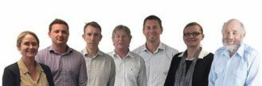 Norconsult åpner kontor på New Zealand. Fra venstre: Suzie Millar, Dean Hassall, Darryl Andrews, Graeme Boyd, Chris Dunlop, Imogen Stretton og Chris Lucas.