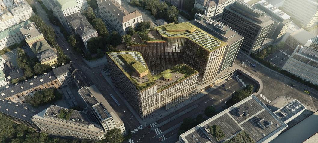 Det planlagte bybygget i Ruseløkkveien 26, sett ovenfra. Her ser man de grønne takene.