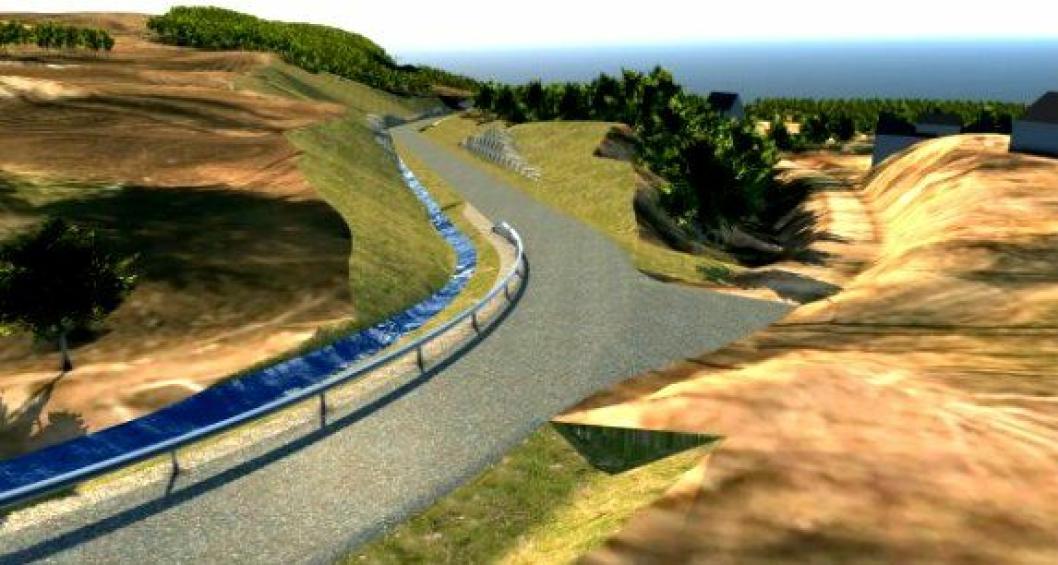 Illustrasjonen viser hvordan Kistefossvegen blir etter ombyggingen.