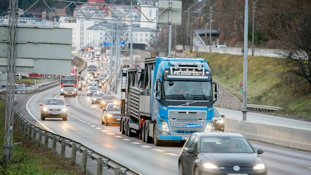 Illustrasjonsbilde. Formiddagstrafikk inn mot Oslo på E18 i Bærum.