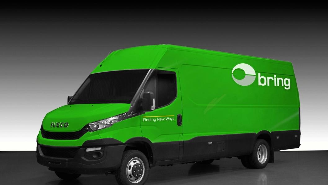 Posten og Bring får Nordens første store elektriske varebiler i form av elektriske Iveco Daily. Her en fotoshoppet illustrasjon av hvordan bilene vil se ut.