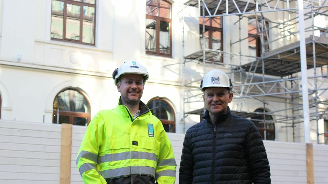 Tore Kvalen, prosjektleder i HENT og Arne Opsal, teknisk sjef og prosjektleder i E. C. Dahls Eiendom.