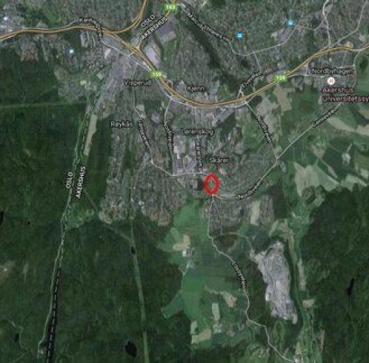 Strekningen av Losbyveien (merket med rød ring) som er stengt for aksellast over 3 tonn fra Losby og Fering Bruk (nederst i bildet) mot nord.