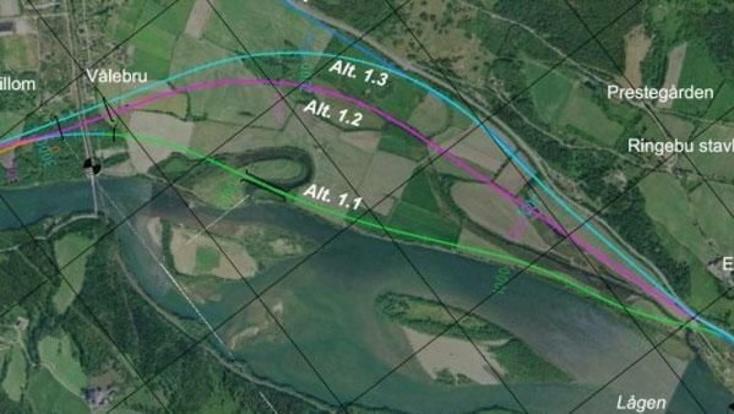 I 2012 ble trasé 1.3 på dette kartet vedtatt. Nå vil Ringebu kommune heller har trasé 1.1. Begge alternativene skal planlegges, har samfersdelsministeren bestemt.