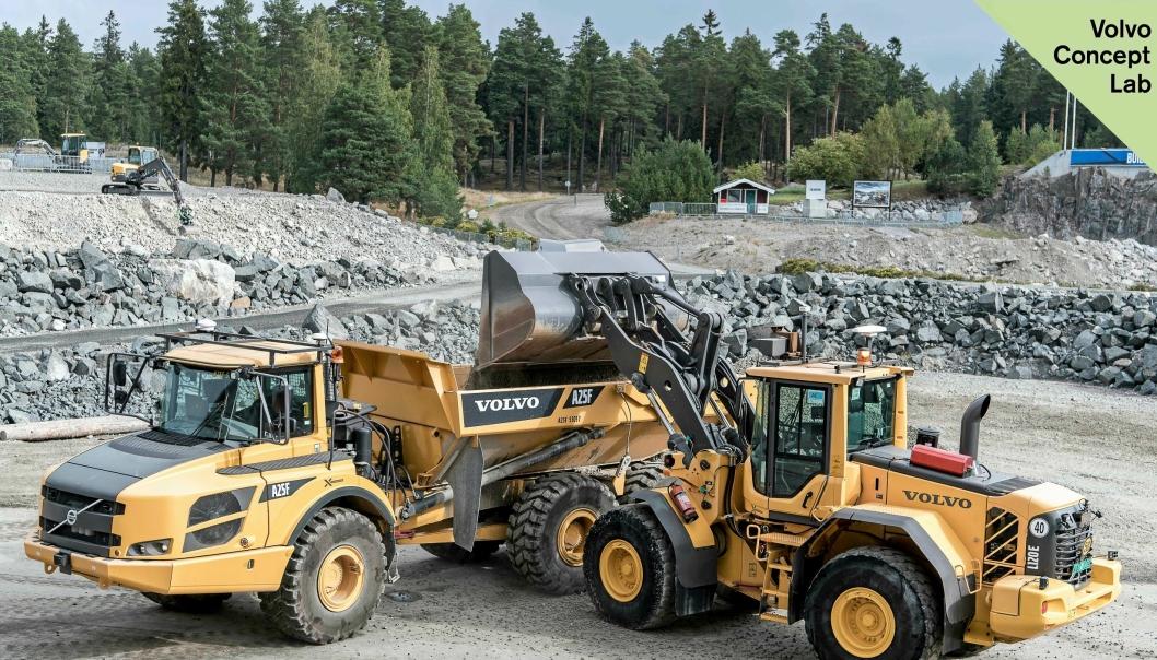 Volvo CE viste blant annet prototyper av en selvkjørende L120E-hjullaster og rammestyrt A25F-dumper under Xploration Forum i Eskilstuna 14. september.
