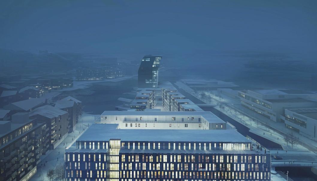 Bygget vil få et moderne uttrykk med utstrakt bruk av takhager og takterrasser som skal passe godt inn i bybildet.