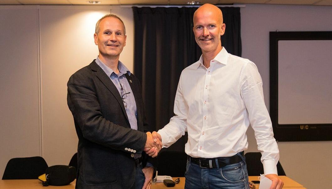 Generalsekretær i Norges Kampsportforbund, Trond Søvik, og Konsernsjef i Franzefoss, Truls Markussen.