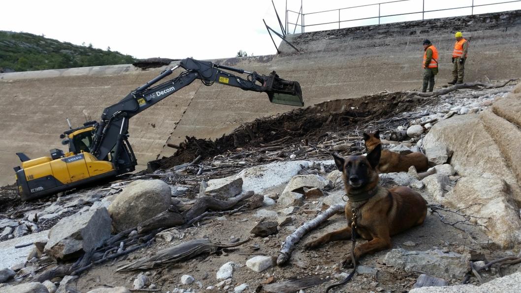 «Dynamitthunder» og fjernstyrt gravemaskin på leting og fjerning av eksplosiver, her fra søket etter sprengstoff fra krigen i forbindelse med kraftutbyggingen i Skjerkevatn i Åseral.