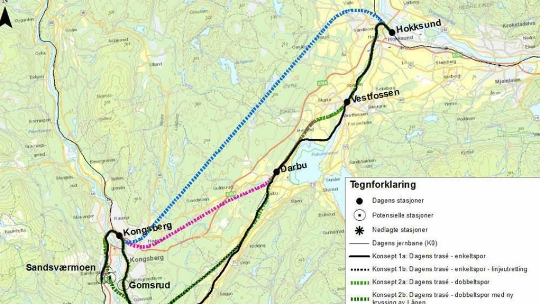 Det er alternativ 4 på dette kartet som Jernbaneverket nå ønsker gjennomført.