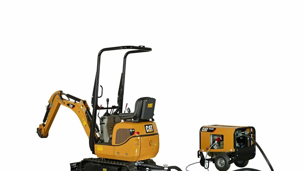 Cat 300.9D VPS minigraver kan kjøres på diesel og på strøm.