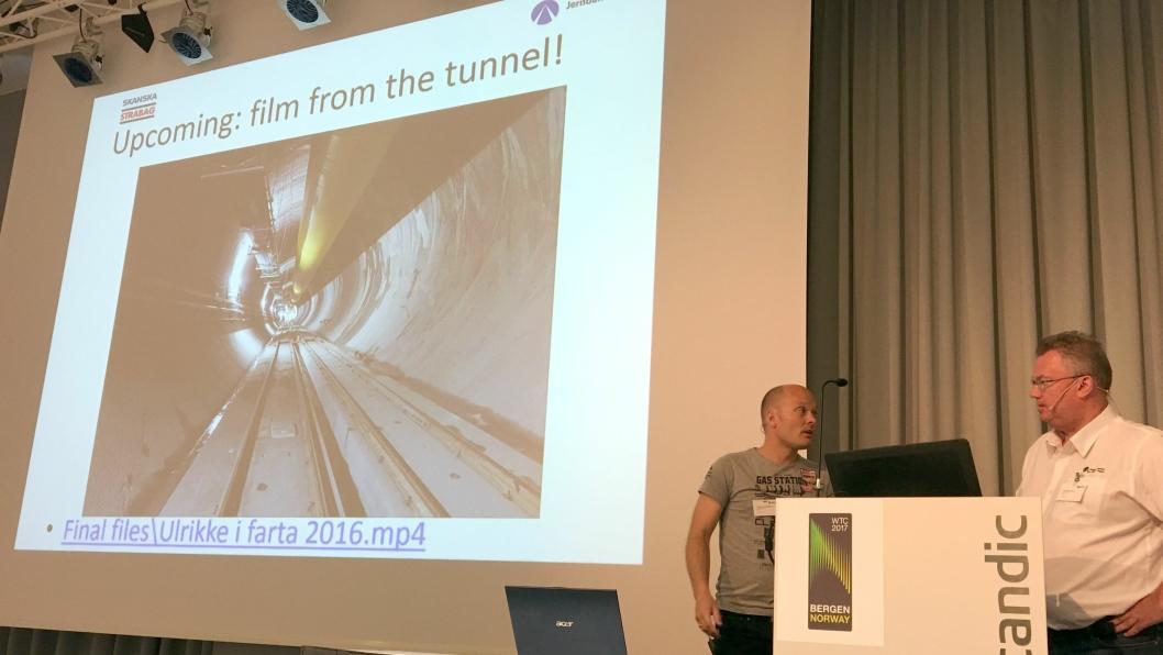 I RUTE: Torbjørn Tveit Bakketun (t.v.) fra JV Skanska Strabag og Hans-Egil Larsen fra Jernbaneverket informerte om fremdriften for Ulrikke som nå er 1,4 km inn i Ulriken-fjellet.