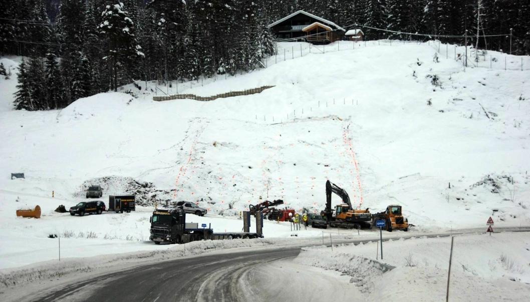 Ulykkken skal ha skjedd ved tunnelen som bygges fra Klosbøle. Dette bildet er fra før første sprengning i slutten av januar.