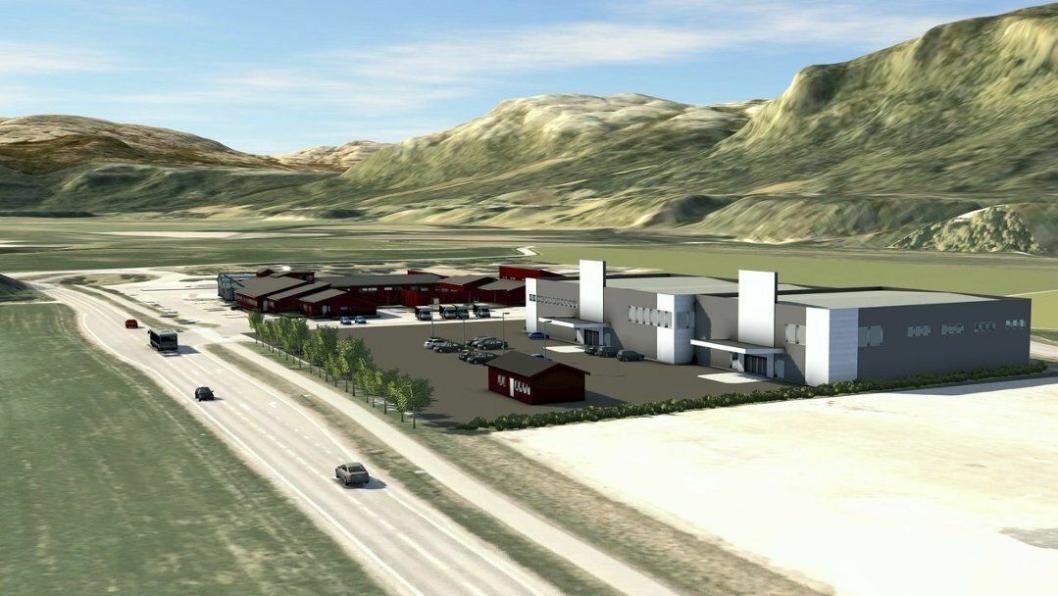Dette er en av skissene til det nye handels- og næringsområde Bjørn Dæhlie planlegger. Ill: Norconsult