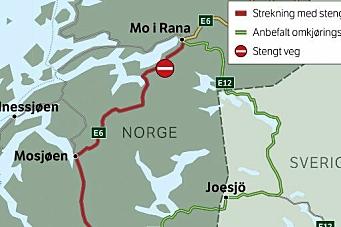 Stenger E6 - kjør via Sverige