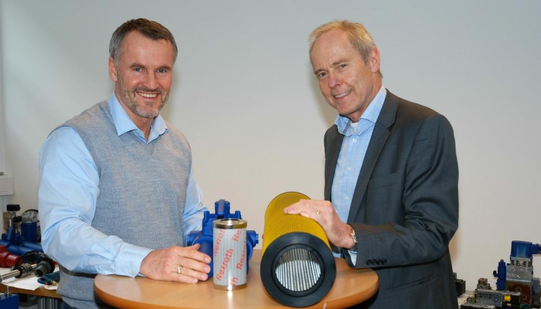 Øystein B. Andreassen i Lekang Maskin AS (t.v.) og Roald Haug i Bosch Rexroth.