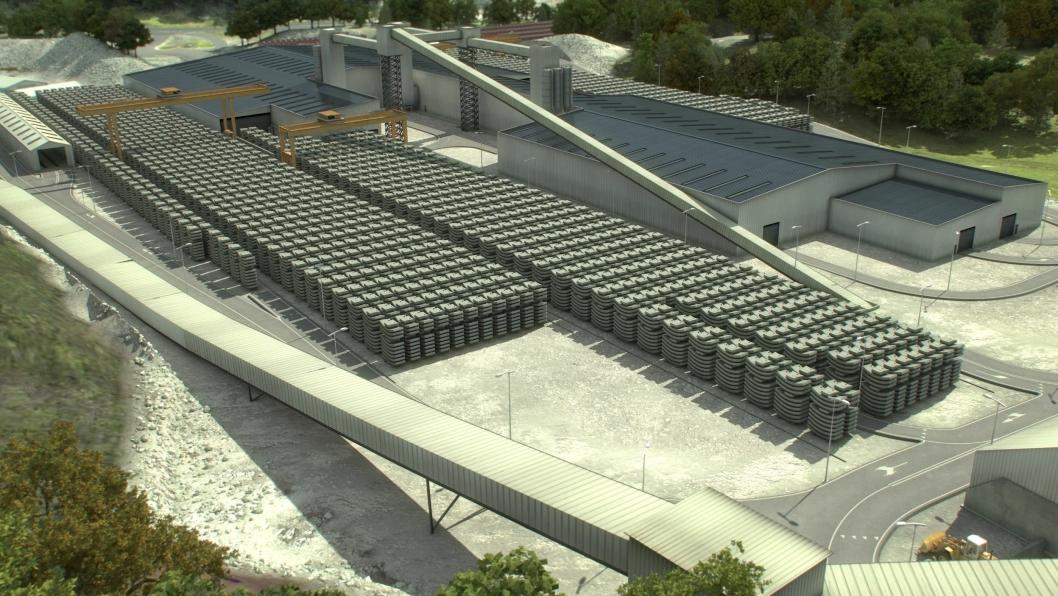 Norcem skal levere 280.000 tonn sement til TBM-kontrakten på Follobanen. Illustrasjonen viser produksjonsanlegget for tunnelelementer som entreprenøren Acciona Ghella JV skal sette opp på Åsland.