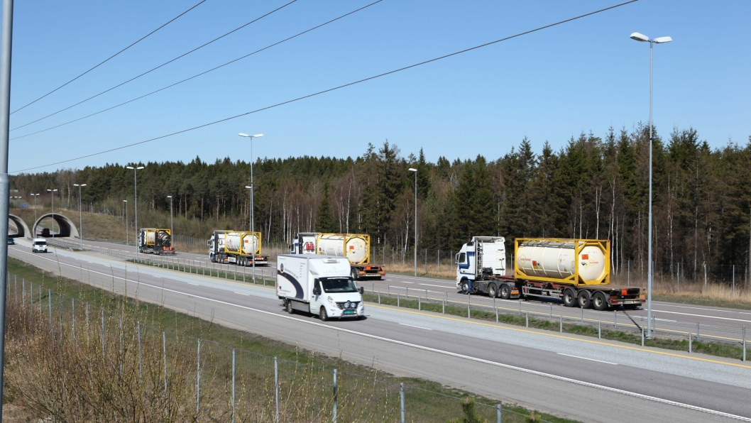 Bilde fra E6 ved Råde i Østfold.