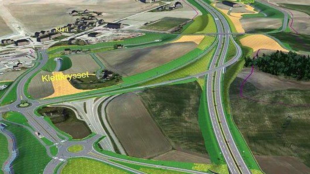 Slik blir den nye veien ved Klett.