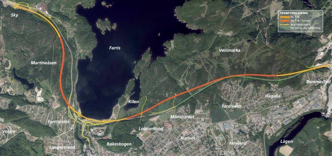Det er strekningen fra Bommestad til Larvikseidet som kan åpnet før sommerferien neste år.